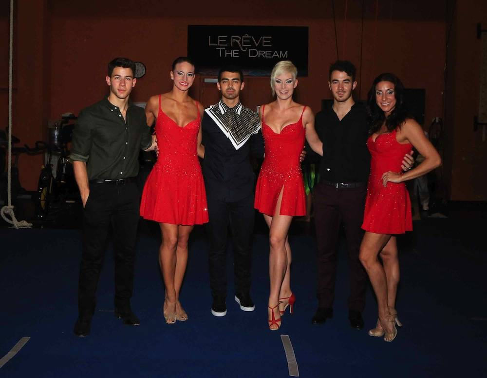 FOR APPROVALS - Nick Jonas Celebrates 21st Birthday At Wynn Las Vegas' Andrea's and Le Reve With Brothers Joe And Kevin Jonas