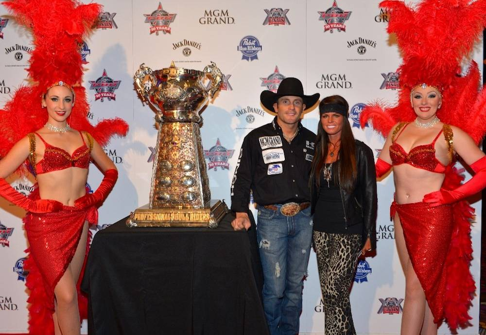 10.21.13 2011 PRCA Bull Riding World Champion Shane Proctor and wife Jessi at the Welcome Reception at MGM Grand. Photo by Bryan Steffy