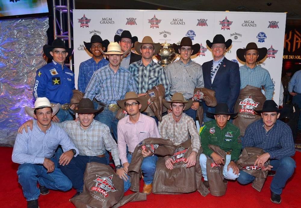 10.21.13 The Brazilian PBR bull riders with Sean Gleason and Jim Haworth at the Welcome Reception at MGM Grand. Photo by Bryan Steffy