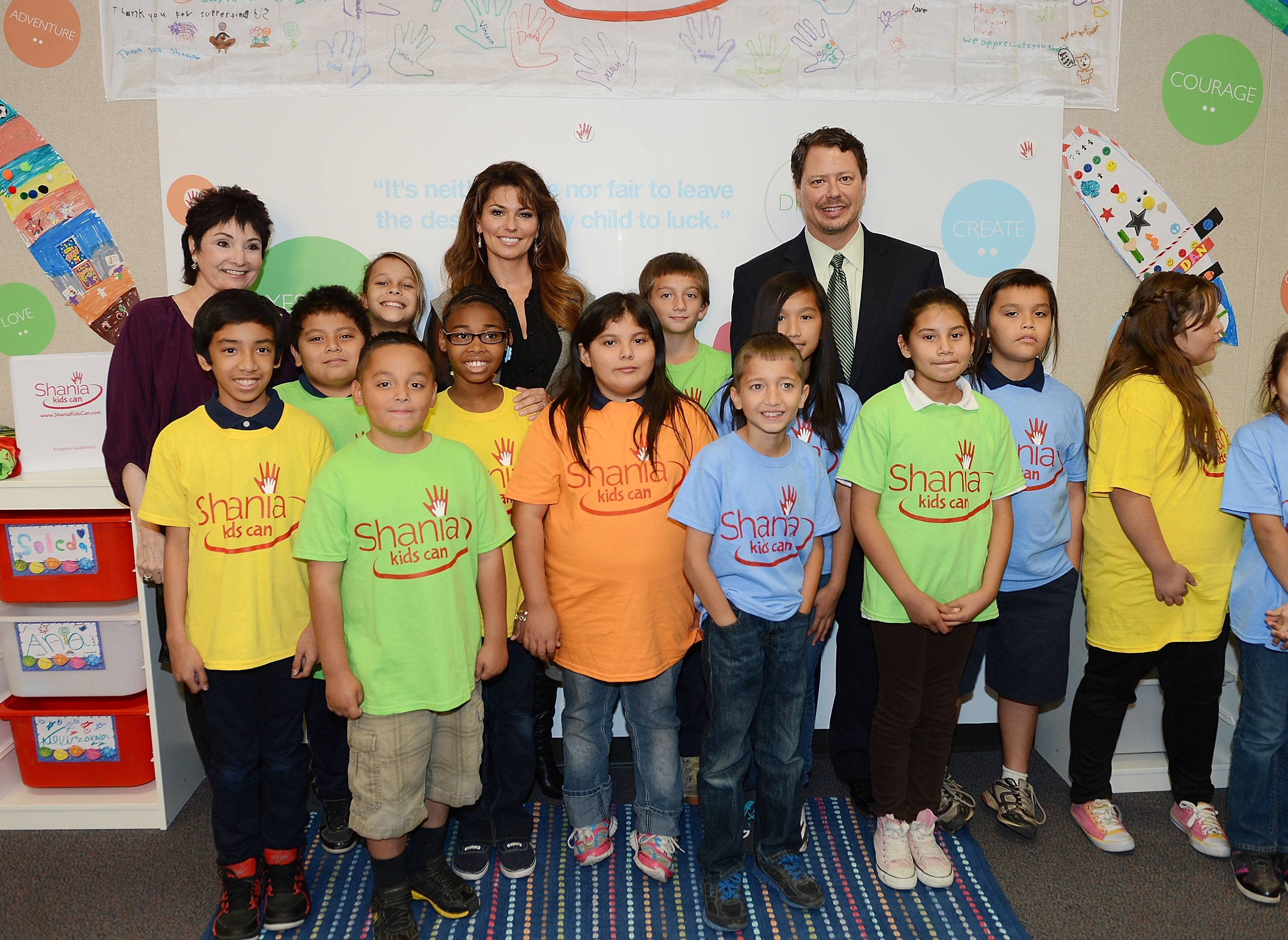 Shania Twain Launches Shania Kids Can (SKC) Foundation Participation At Tom Williams Elementary School In Las Vegas