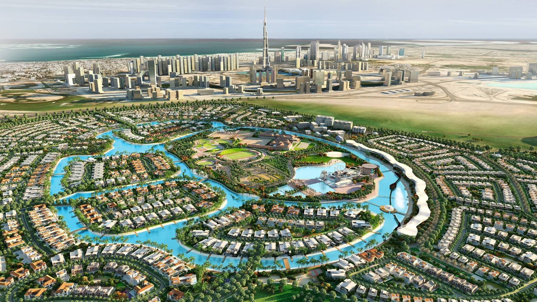 An aerial view of Meydan Sobha – District One located at a short distance of 2.9 kilometers from Burj Khalifa – Med-Res