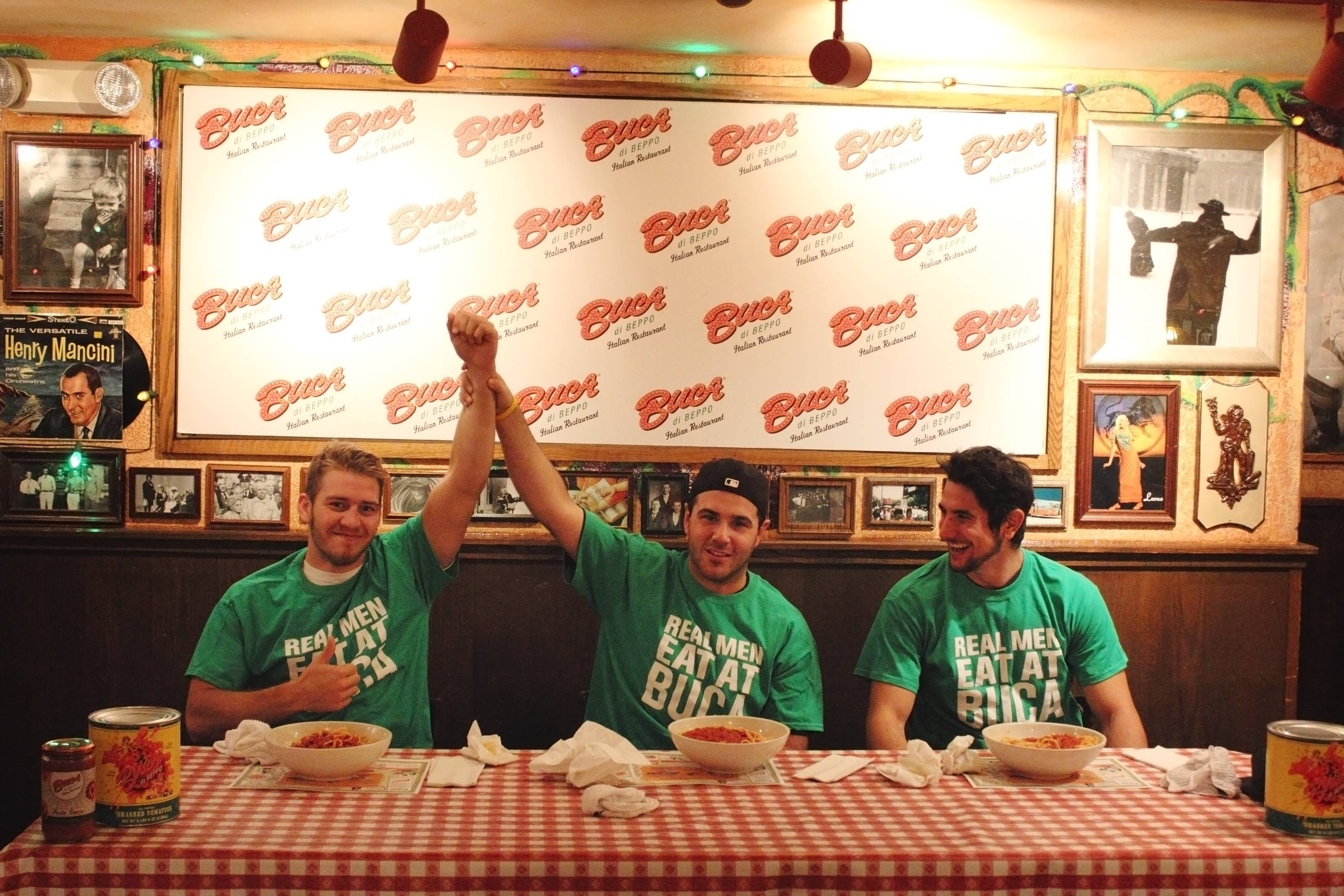 The Las Vegas Wranglers Hockey team celebrate World Pasta Day at Buca di Beppo with a pasta eating contest and meatball slapshots. Photos: Buca di Beppo