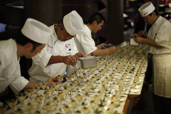 Chef Nobu Matsuhisa entrusts his team of executive sushi chefs as they prepare an array of new dishes for Nobu United at Nobu Caesars Palace. Photo: Sabin Orr