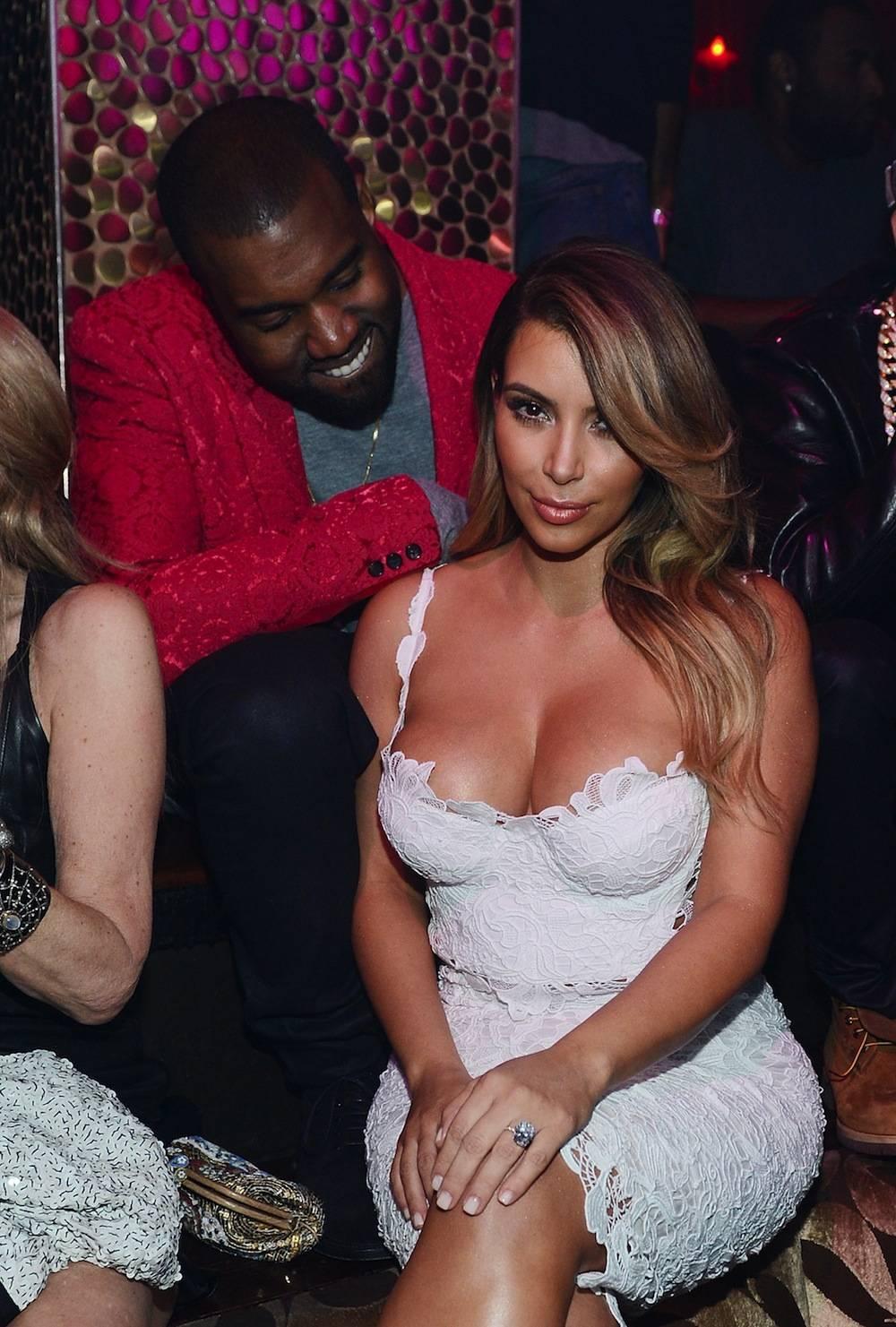 Kanye West and Kim Kardashian at Tao for Kardashian's 33rd birthday. Photos: Denise Truscello/WireImage