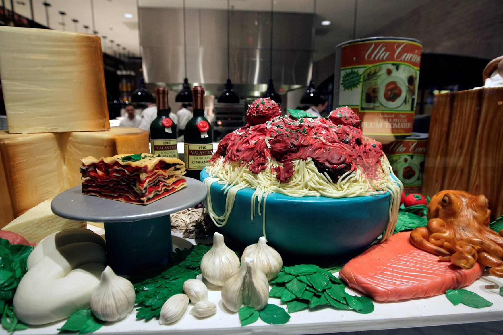 A display made of cake and chocolate shows off the Cake Boss' skills