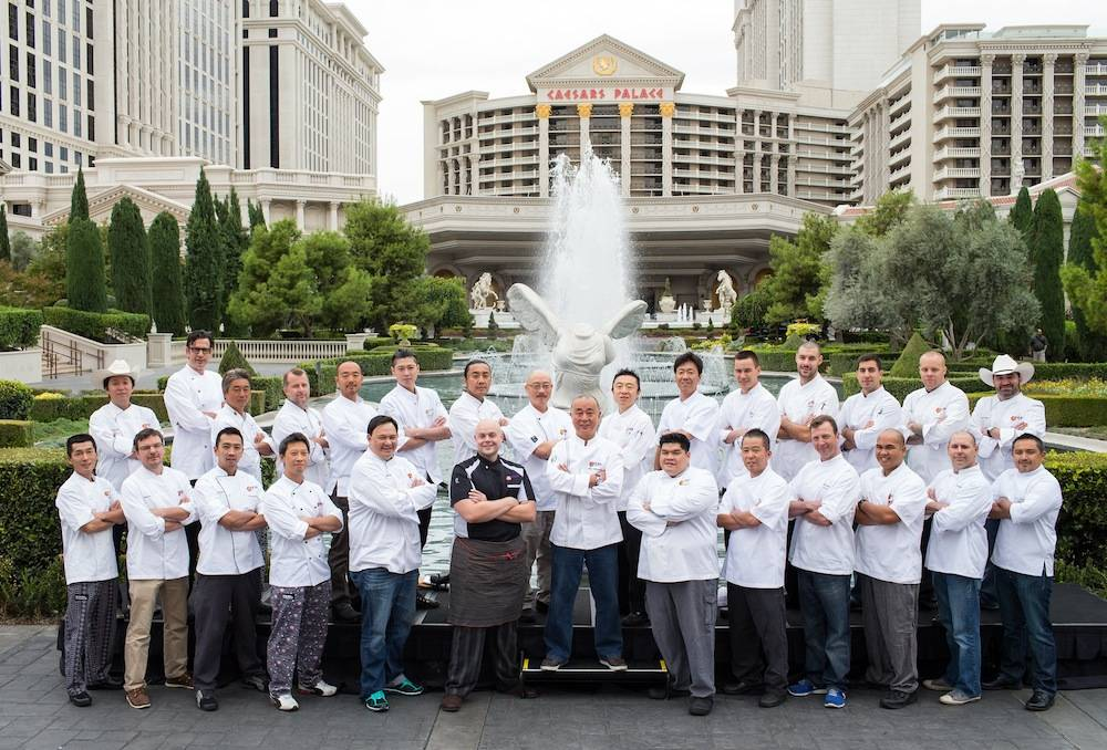 Chef Nobu Matsuhisa welcomes 27 Nobu chefs from across the country at Caesars Palace Las Vegas in celebration of Nobu United. Photos: Erik Kabik/Retna