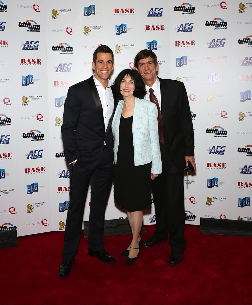 "The Quad headliner and founder of Win-Win Entertainment Jeff Civillico and his parents walk the red carpet during the ""Headliners Bash"" at The Quad on Friday. Photos: Gabe Ginsberg"