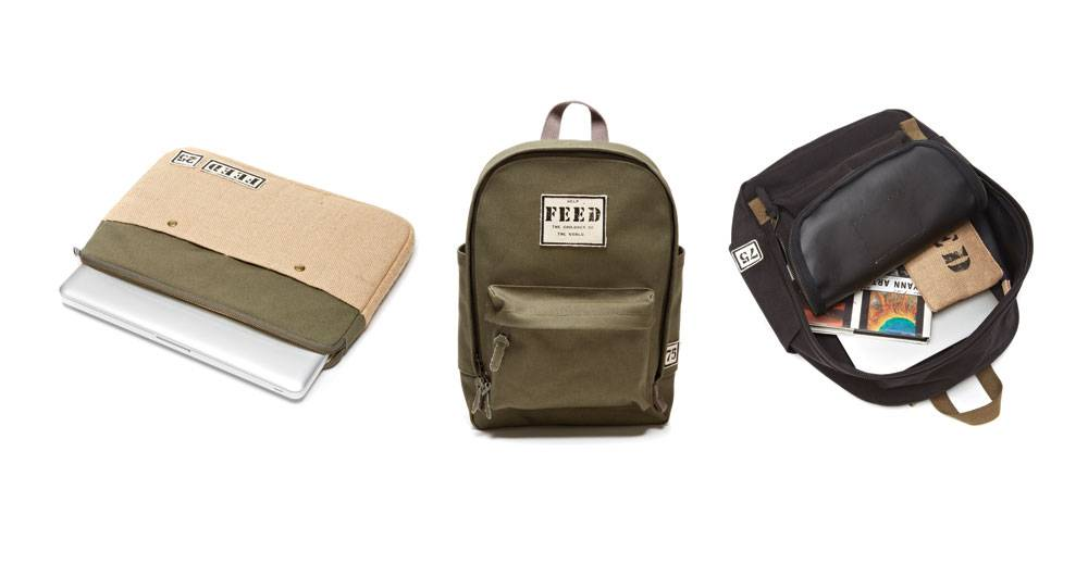 Protect your gadgets with FEED's new holiday tech and travel collection. Each backpack, tablet sleeve and laptop case—available in a variety of bold shades—provides school meals to children throughout the world.