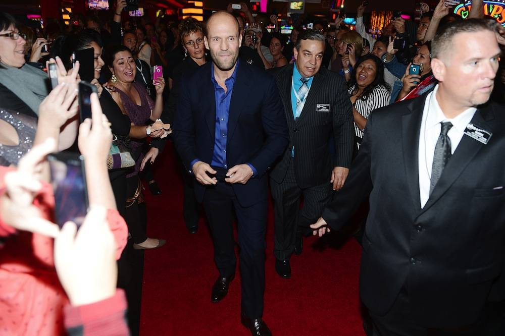 Action star Jason Statham walks the red carpet at the Homefront premiere at Planet Hollywood Resort. Photo: Denise Truscello/WireImage