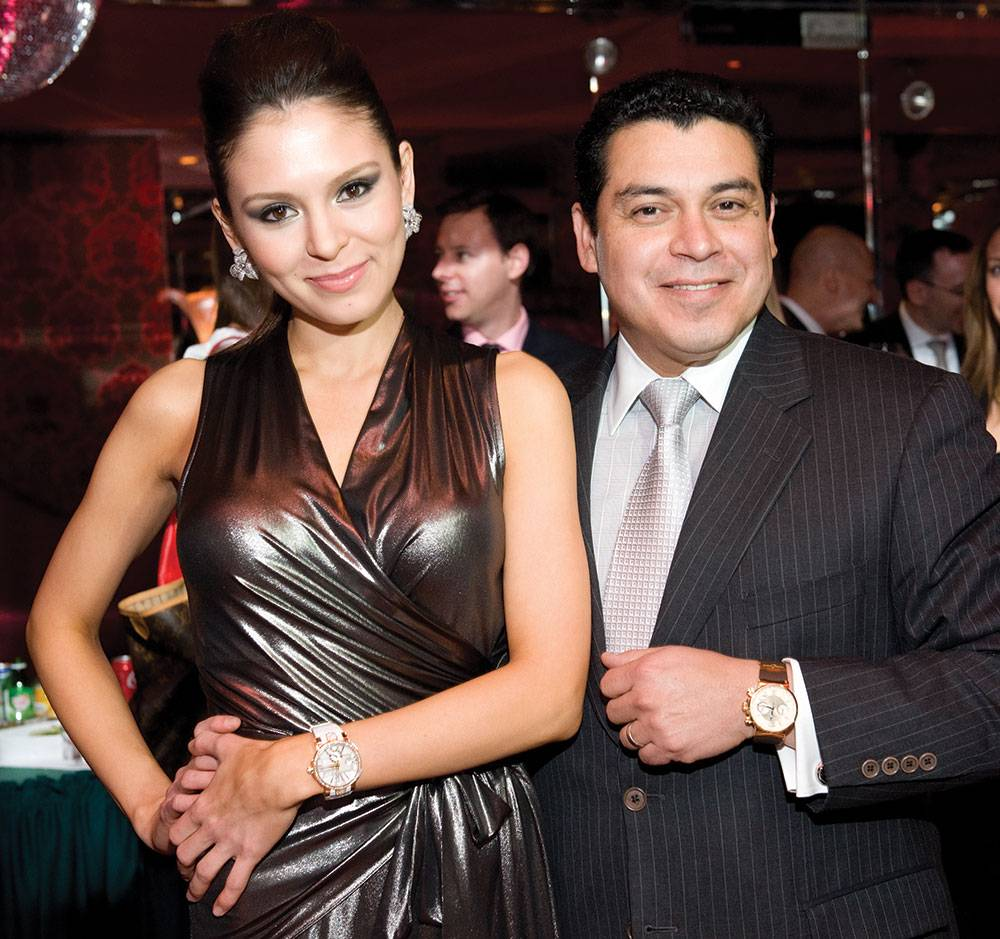 Lola-Astanova,-Nelson-Lucero-showing-off-watches