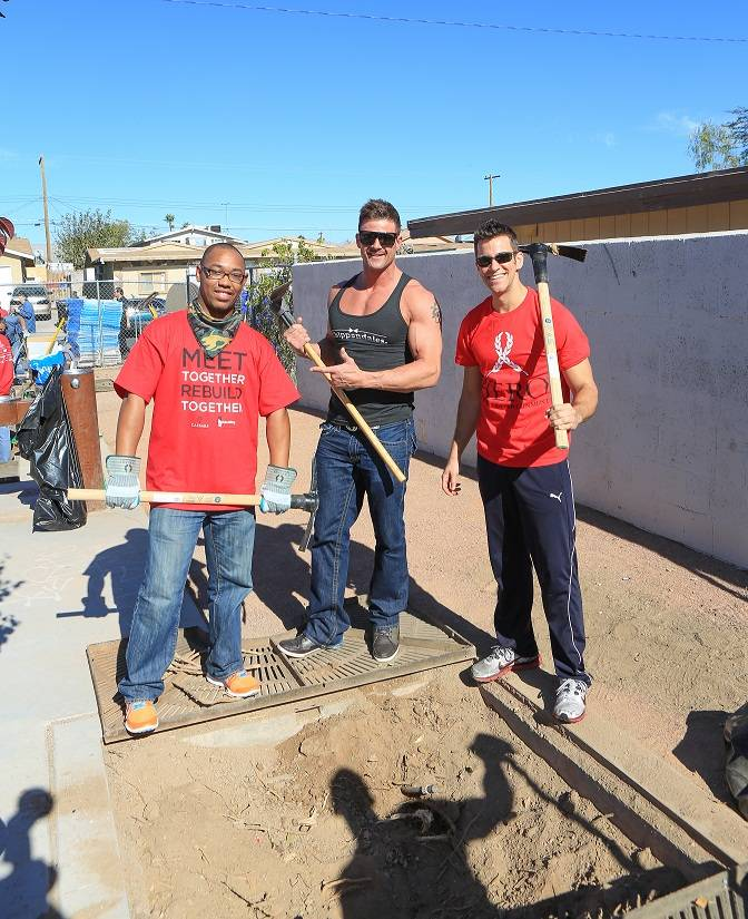 Nathan Minor of Chippendales and The Quad headliner Jeff Civillico help landscape a North Las Vegas community park .