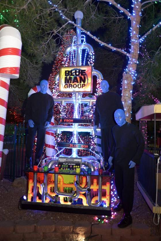 10.9.13 Blue Man Group Las Vegas Poses with Tree at Opportunity Village's Magical Forest_photo credit Paul Smith, Las Vegas Photo and Video (2)