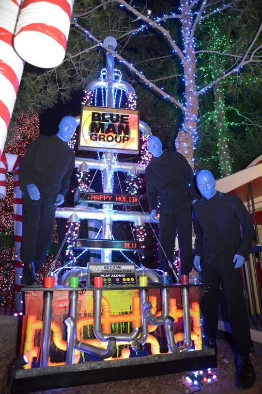 10.9.13 Blue Man Group Las Vegas Poses with Tree at Opportunity Village's Magical Forest_photo credit Paul Smith, Las Vegas Photo and Video (3)