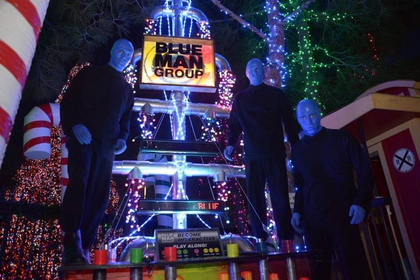 10.9.13 Blue Man Group Las Vegas Poses with Tree at Opportunity Village's Magical Forest_photo credit Paul Smith, Las Vegas Photo and Video