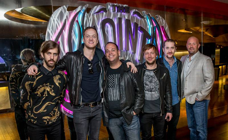 12.30.13 Imagine Dragons joined by Bobby Reynolds of AEG Live (3rd from L) and Chas Smith of Hard Rock Hotel (far R)