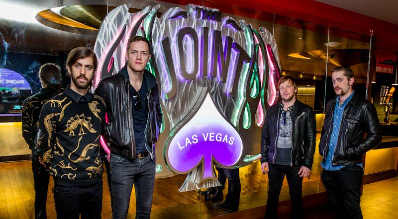 12.30.13 Imagine Dragons pose inside The Joint at Hard Rock Hotel & Casino Las Vegas