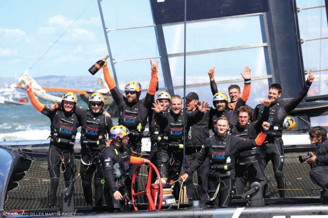 Oracle Team USA  celebrates the victory.
