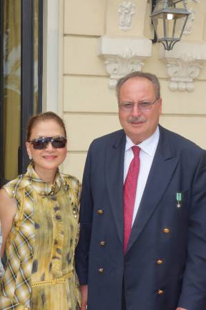 Olivia Decker with King Fouad II of  Egypt at Les Leaders Club luncheon at Hotel Hermitage.