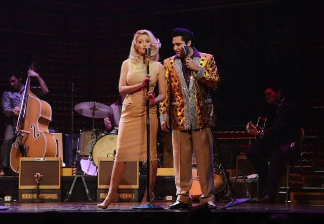 "Holly Madison joins the ""Million Dollar Quartet"" for a one-night performance. Photos: Denise Truscello/WireImage"