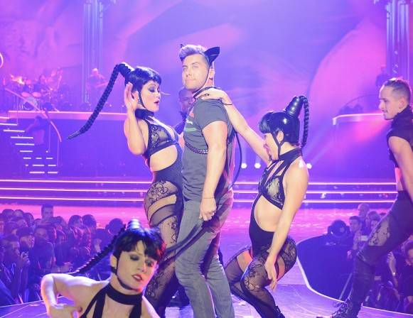 "Lance Bass is pulled on stage by Britney's dancers for the ""Freakshow"" number during ""Britney: Piece of Me"" in The Axis Theater on Monday. Photo: Denise Truscello"