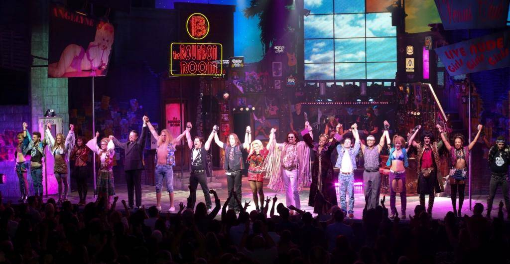 Cast of Rock of Ages Vegas Bows;  First Anniversary 12.18.13  © Gabe Ginsberg, VEGASKOOL - Copy