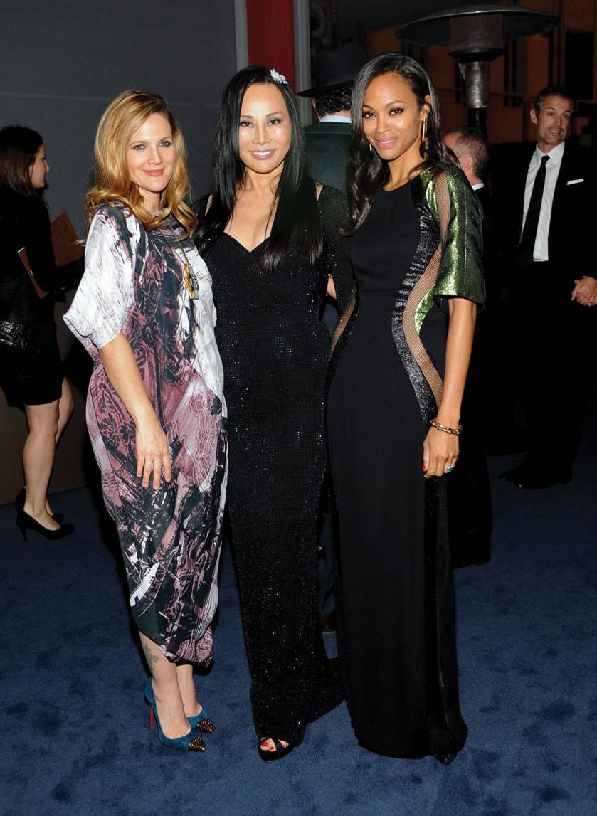 Drew Barrymore, Eva Chow and Zoe Saldana