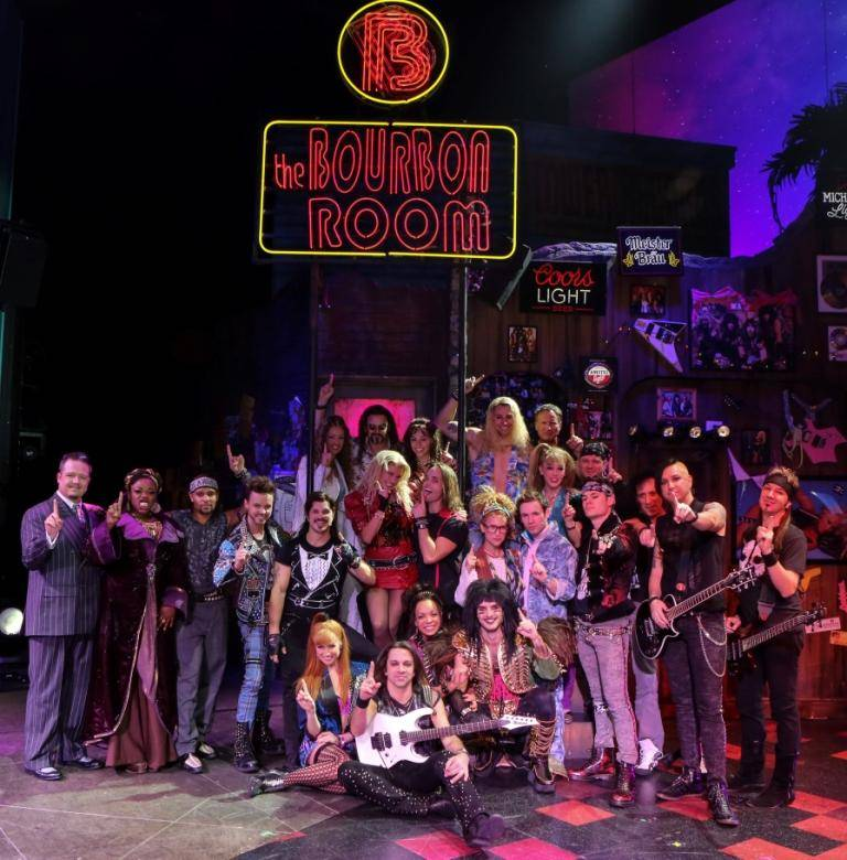 Full Rock of Ages Vegas Company 3; First Anniversary 12.18.13  © Gabe Ginsberg, VEGASKOOL