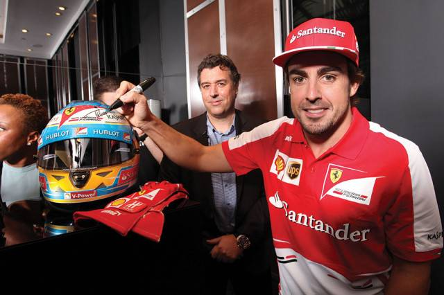 Rick de la Croix with Fernando Alonso at Bal Harbour Boutique