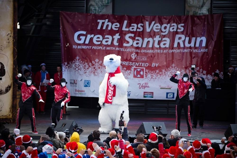 Jabbawockeez and the official Coca-Cola Polar Bear, photo credit Opportunity Village