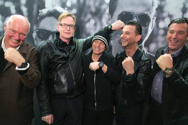 Jean-Claude Biver, Chairman of Hublot (left) and Rick De La Croix (right) with Depeche Mode