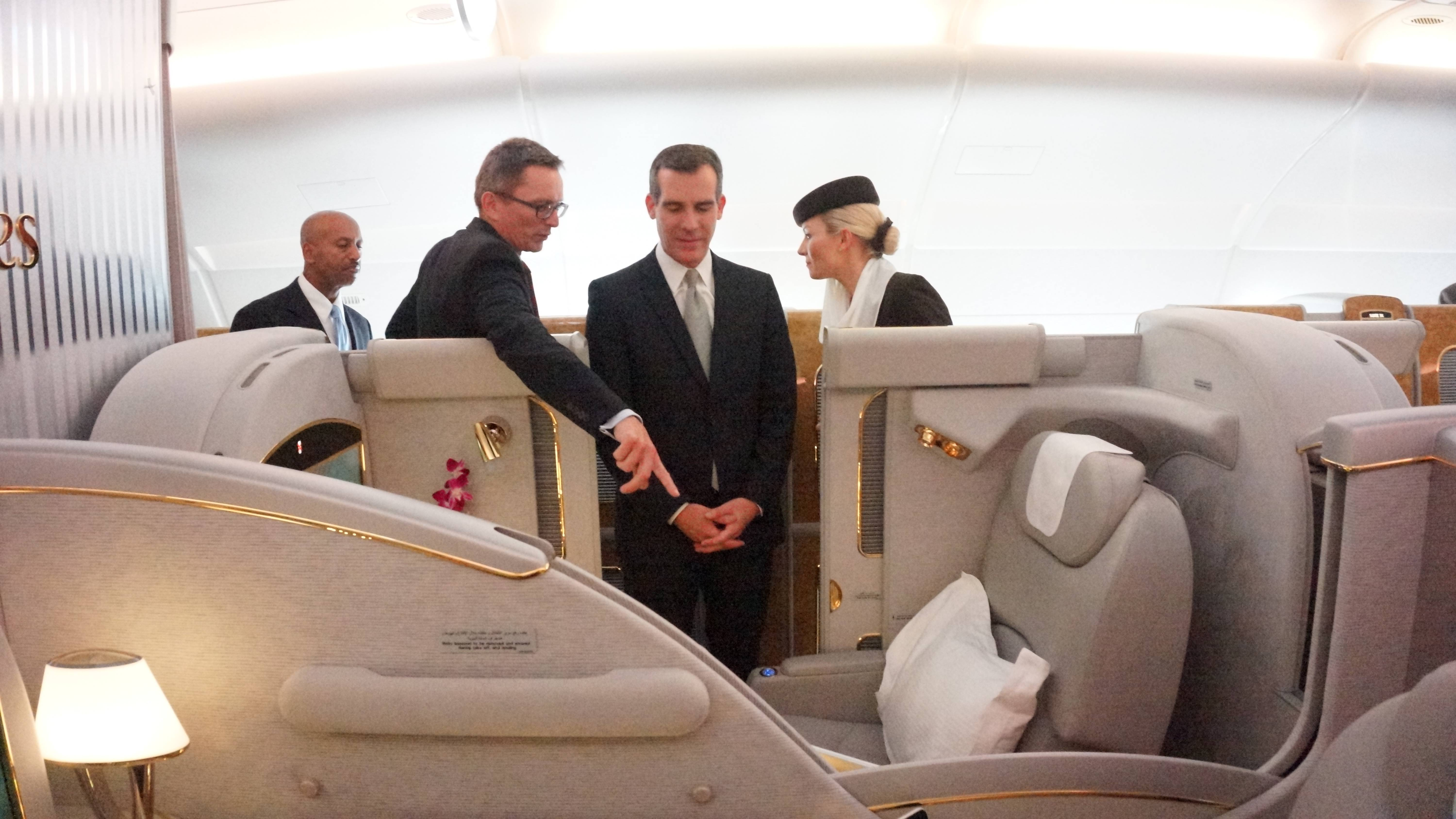 Los Angeles Mayor Eric Garcetti Views the First Class Private Suite On-Board the Emirates' A380 in Los Angeles