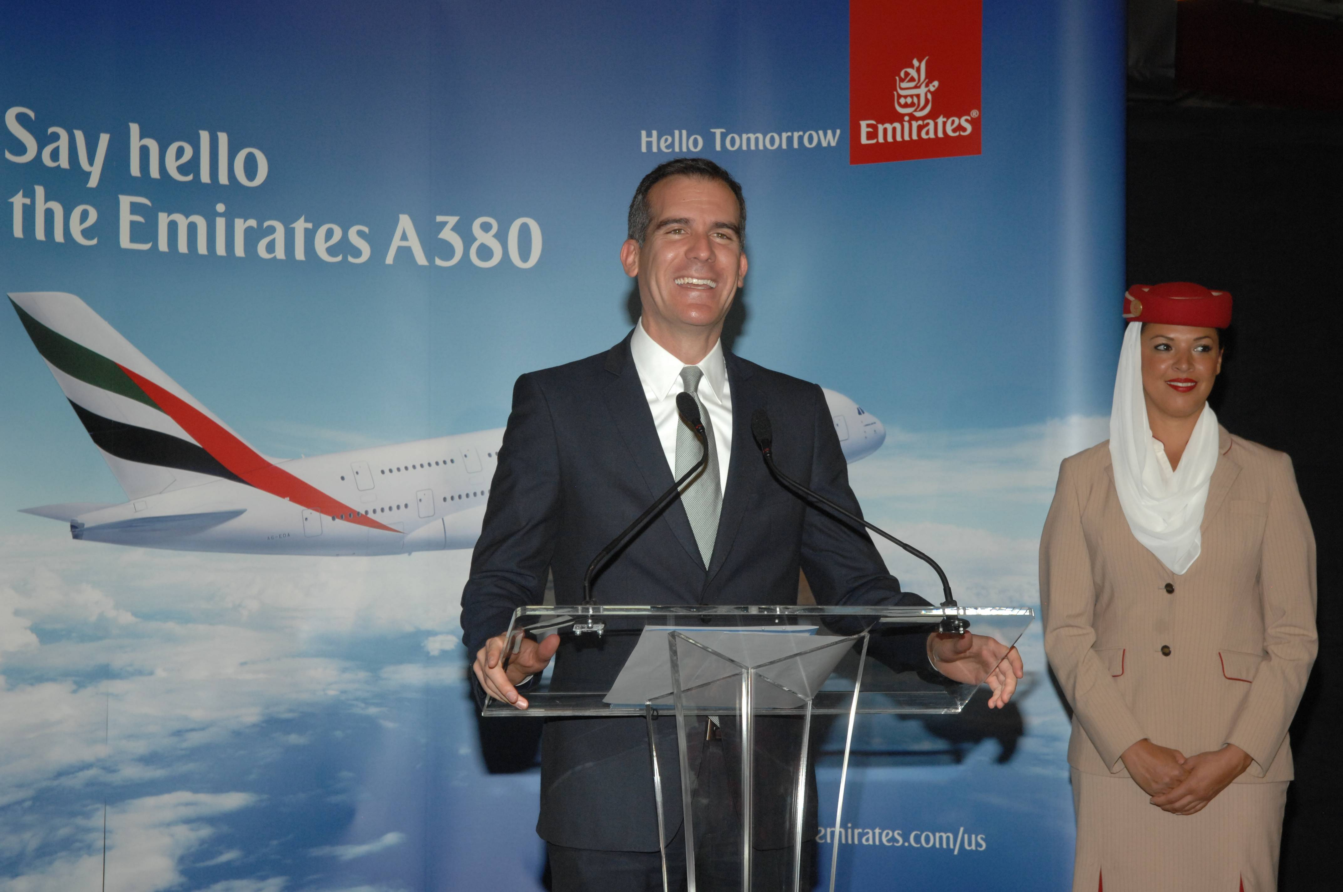 Los Angeles Mayor Eric Garcetti Welcomes the Emirates' A380 Arrival in LA