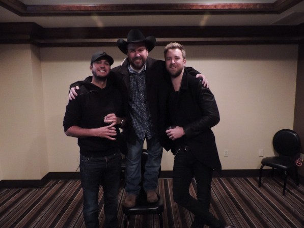 Luke Bryan and Charles Kelly Surprise Comedian Rodney Carrington at MGM Grand - 12.9.13 - Credit MGM Grand