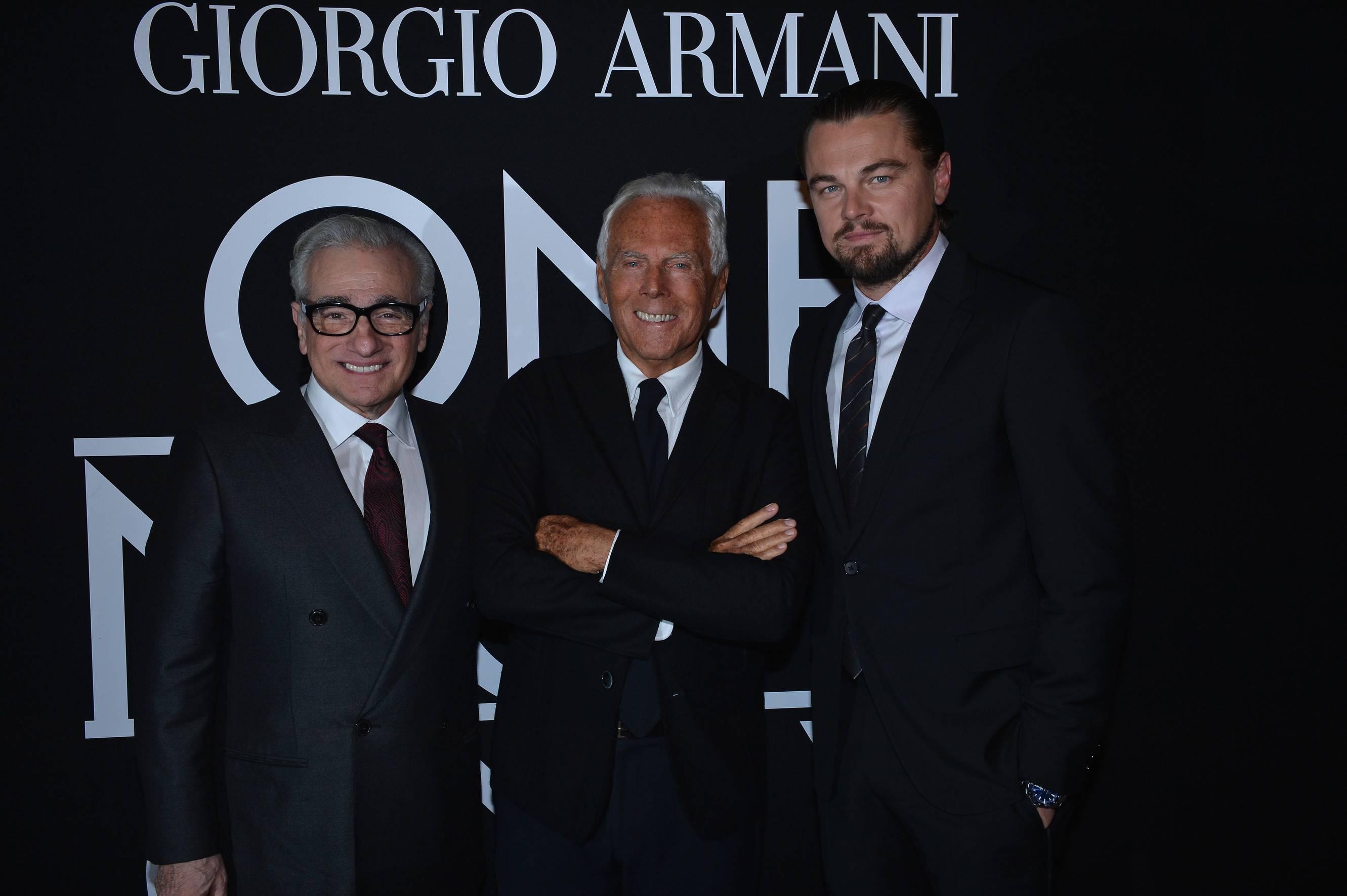 Martin Scorsese Giorgio Armani and Leonardo DiCaprio