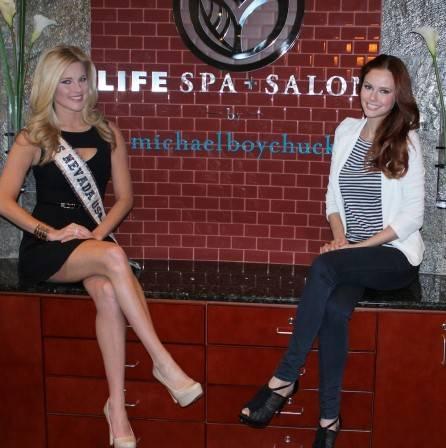 Miss Nevada USA Chelsea Caswell and Miss USA 2011 Alyssa Campanella at LifeSpa+ Salon by Michael Boychuck. Photos: Georgina Vaughan