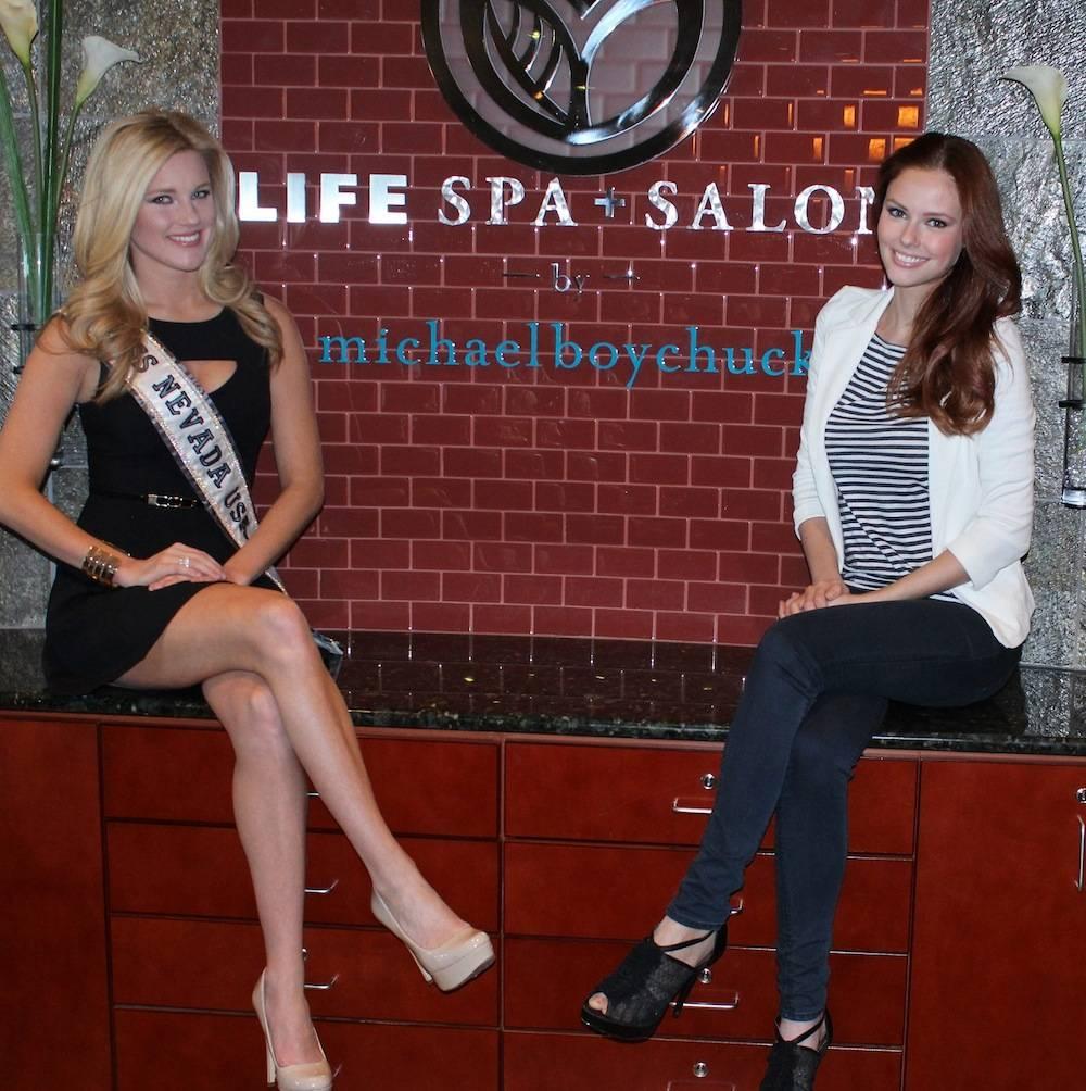 Miss Nevada USA Chelsea Caswell and Miss USA 2011 Alyssa Campanella at LifeSpa + Salon by Michael Boychuck
