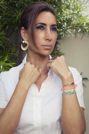 Nadine Kanso wearing Cruciani C design