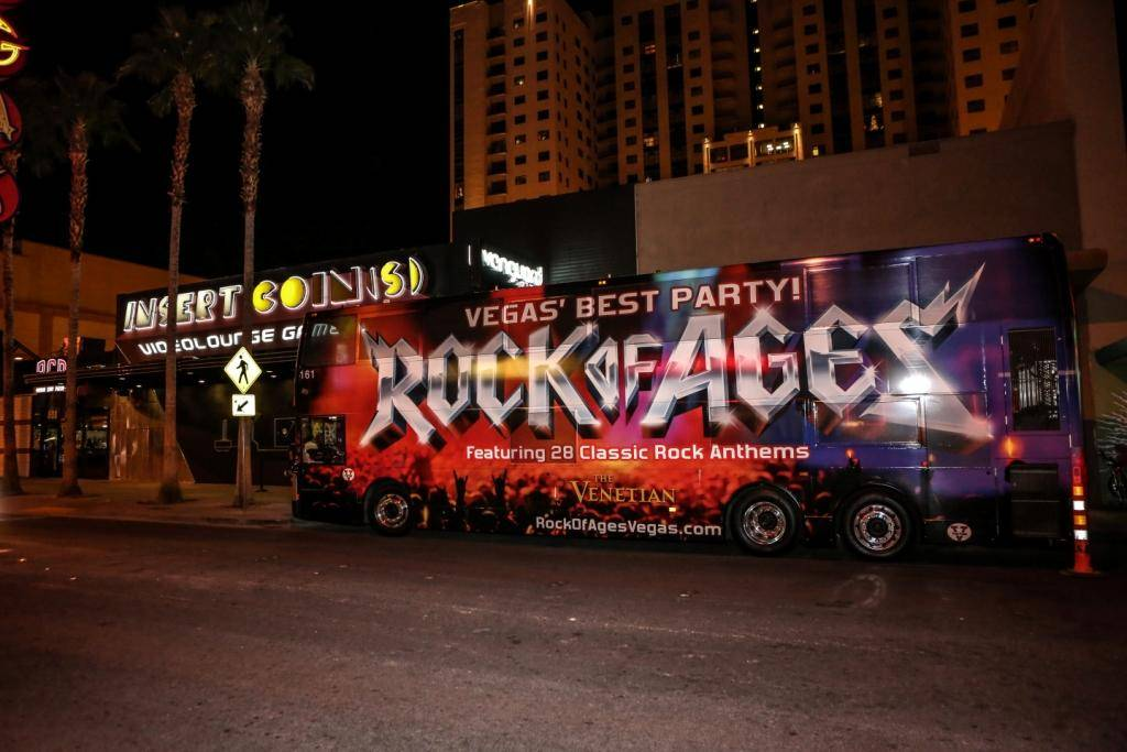 Rock of Ages Bus at Insert Coins;  First Anniversary 12.18.13  © Gabe Ginsberg, VEGASKOOL