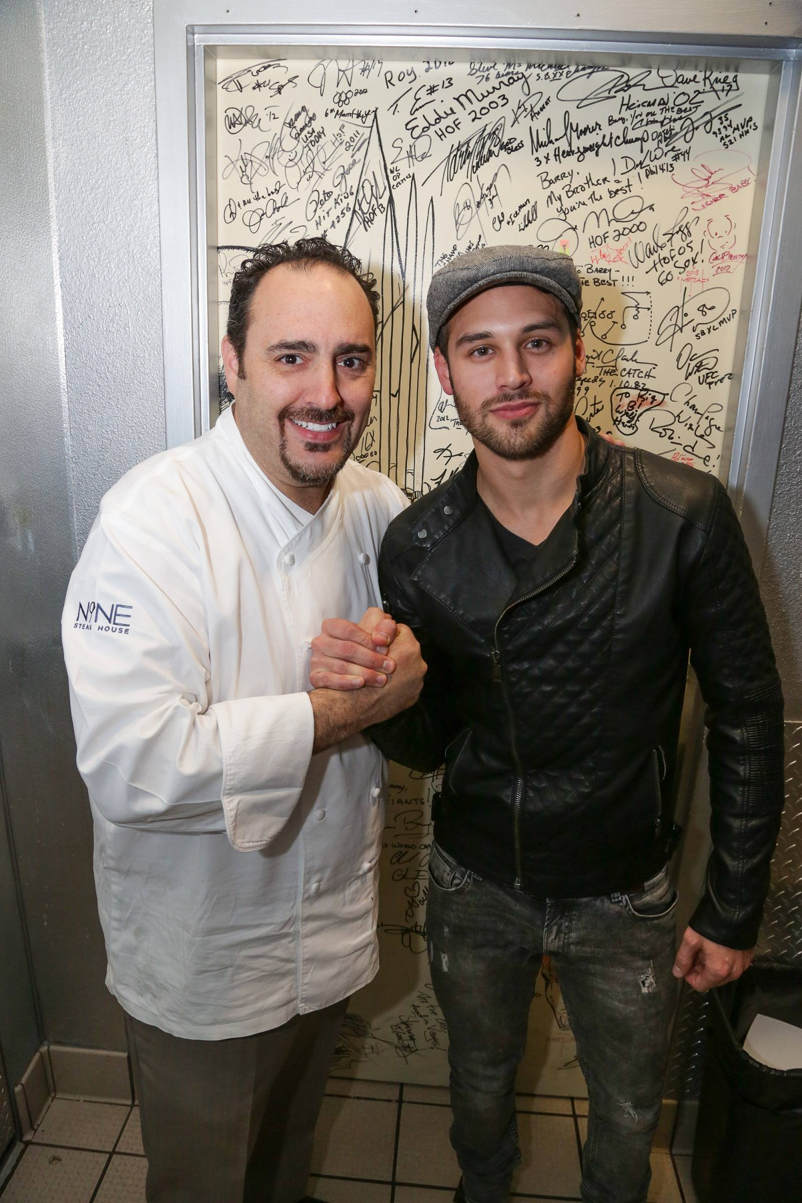 Ryan Guzman and Executive Chef Barry S. Dakake of N9NE Steakhouse