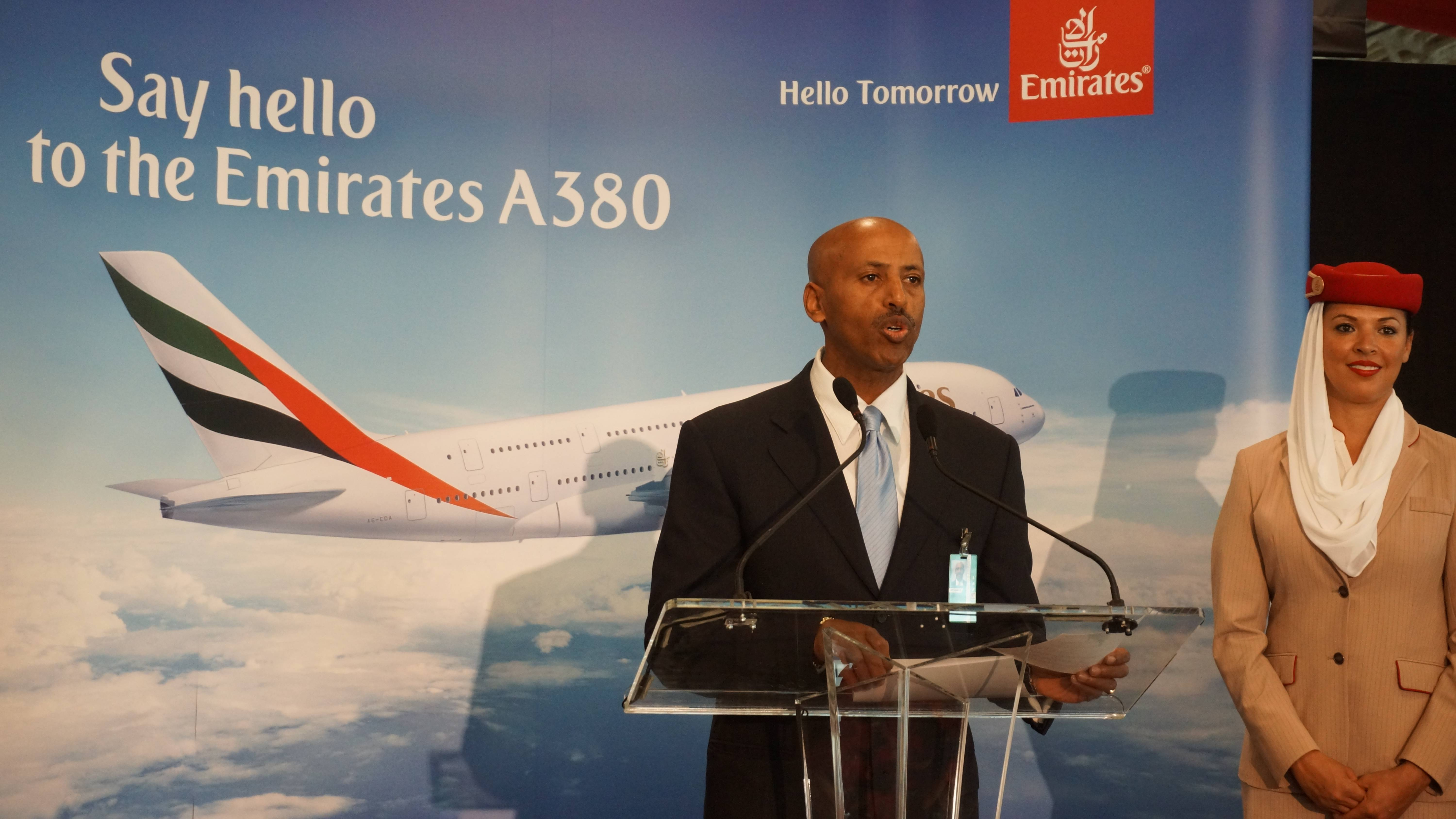 Samson Mengistu Deputy Executive Director for Administration at Los Angeles World Airports Welcomes the Emirates' A380