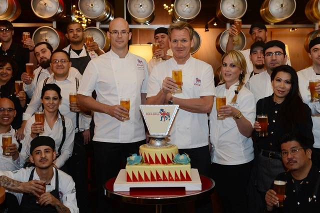 The Gordon Ramsay Pub & Grill team at Caesars Palace toasts to a successful first year.