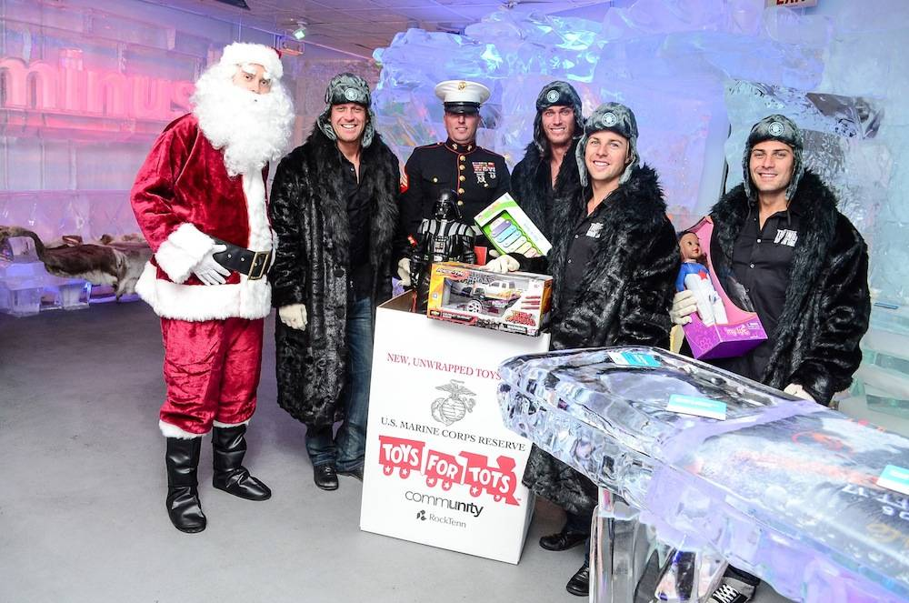 Thunder from Down Under donate to Toys for Tots accompanied by Santa and US Marines - credit Julio Castillo