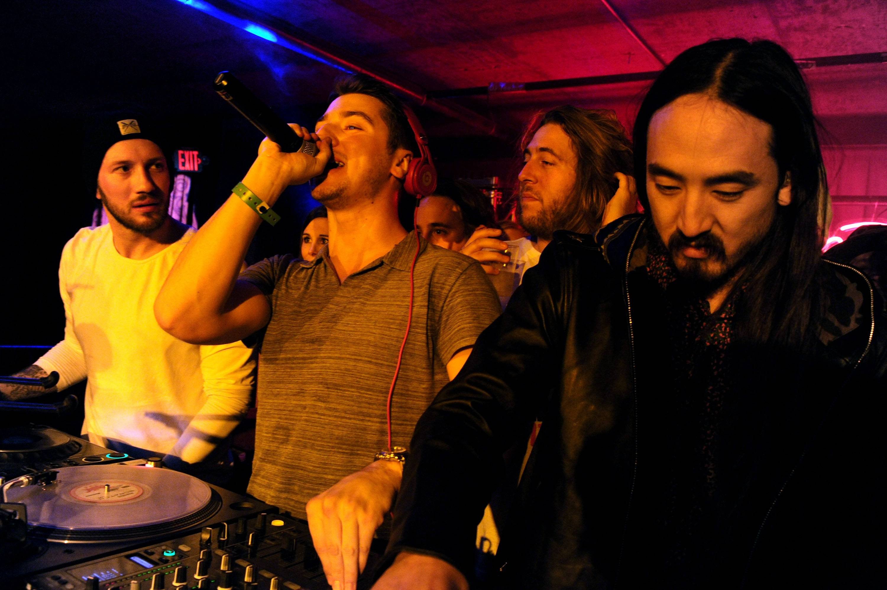 DJ Politik and Steve Aoki getting the crowd pumped up TAO at Village at the Lift Night 4 of Sundance