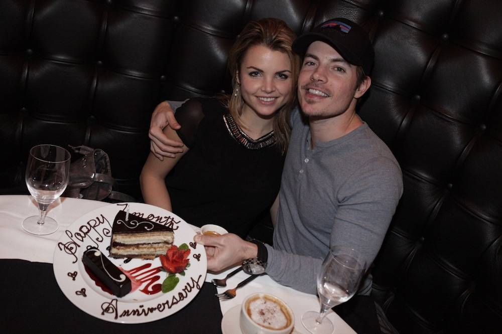 Josh Henderson and Andrea Boehlke celebrate anniversary at Andiamo Steakhouse at the D Las Vegas 1.2.14