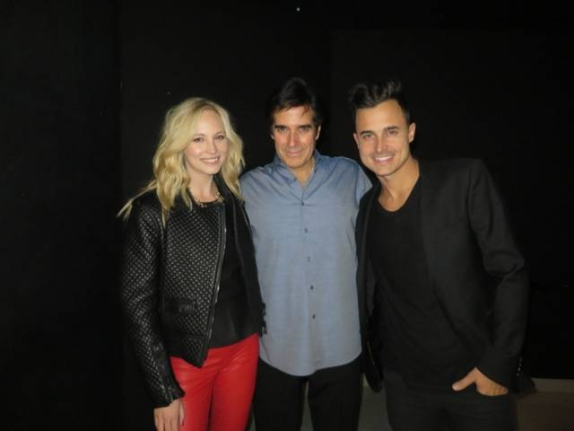 Musician Joe King and Actress Candice Accola attend David Copperfield's Performance at MGM Grand 1.6.14
