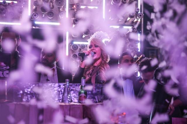 Paris Hilton counts down to midnight. Photos: Hyde Bellagio
