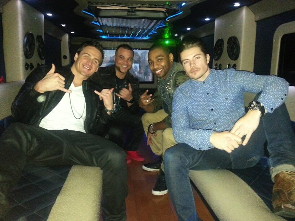 Ryan Lochte, Ed Moses, Cullen Jones and Josh Henderson party in the D's stretch limo.