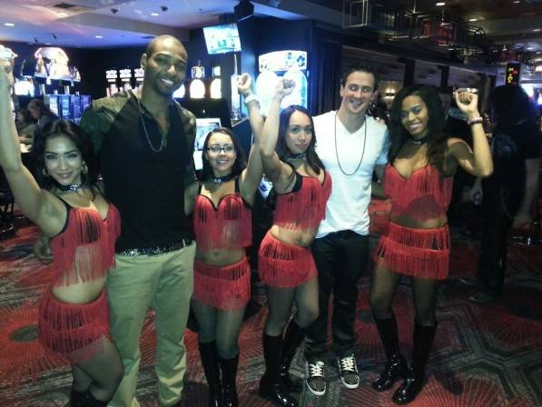 Ryan Lochte and Cullen Jones celebrate the new year with dancing dealers at the D Las Vegas.