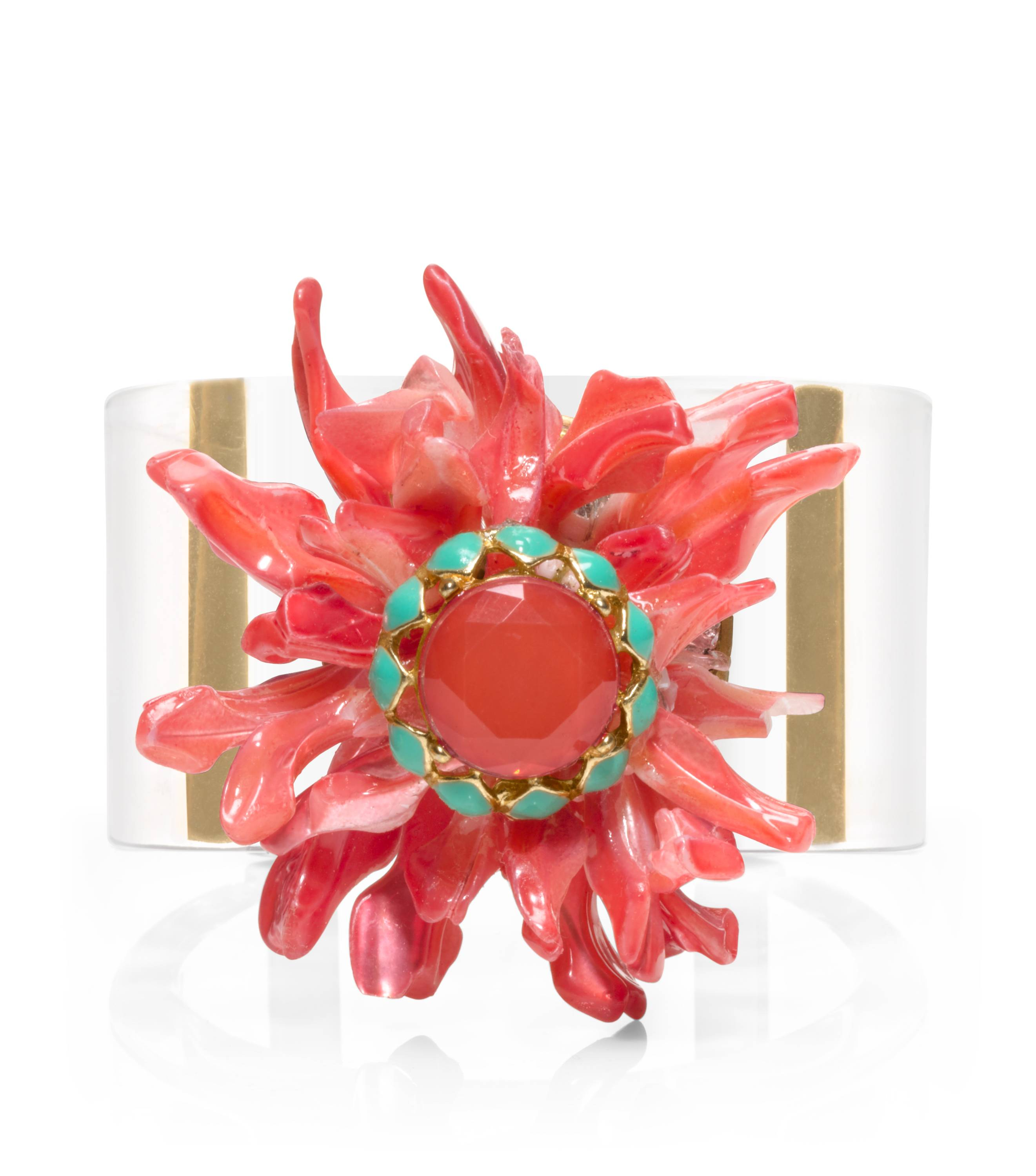 TB Coral Flower Cuff in Coral Multi