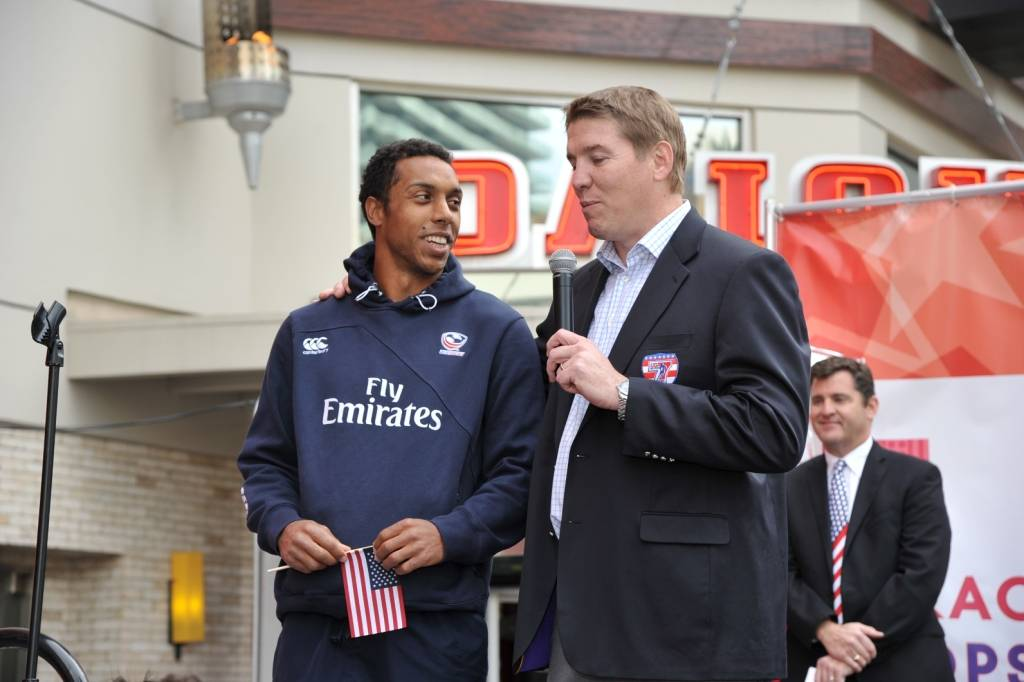 USA Eagles Captain Nick Edwards and Tournament Director for USA Sevens Rugby Dan Lyle addressed the crowd from the stage outside PBR Rock Bar at Miracle Mile Shops